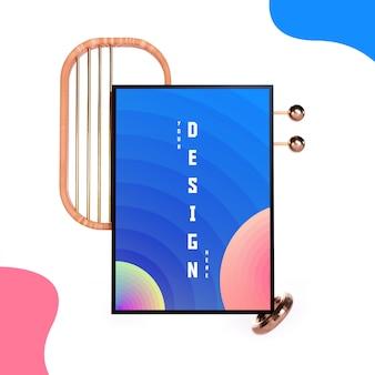 Plantilla de maqueta de marco flotante / foto flotante con 3d