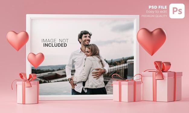 Plantilla de maqueta de marco de fotos globo de corazón de amor y caja de regalo
