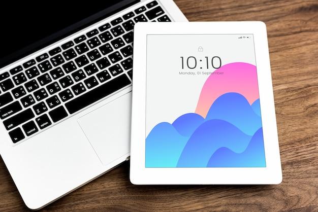 Plantilla de maqueta de pantalla de tableta digital