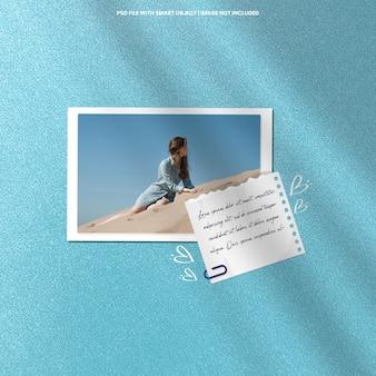 Plantilla de maqueta de polaroid de marco de fotos realista psd premium