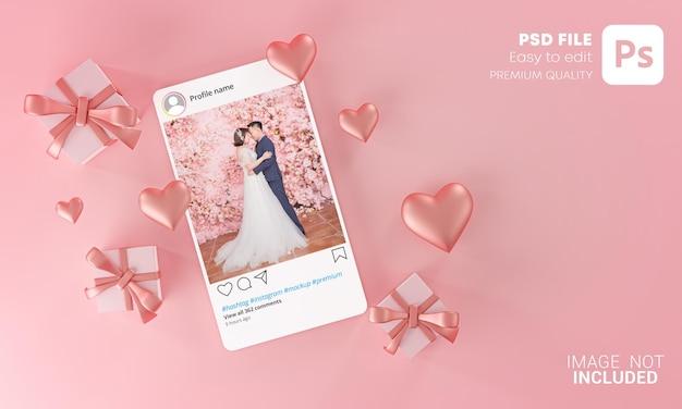 Plantilla de maqueta de publicación de instagram amor de boda de san valentín forma de corazón y caja de regalo volando