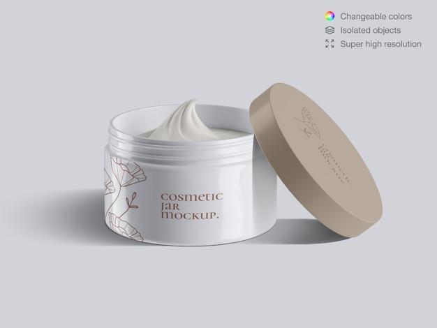 Plantilla de maqueta de tarro de crema facial cosmética plástica abierta realista