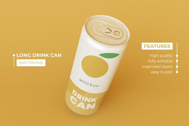 Plantilla de maquetas de latas de bebidas metálicas de calidad premium premium psd