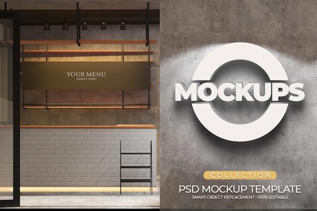 Plantilla de maquetas de logotipo 3d y menú de banner de una cafetería con diseño de interiores industriales y textura de pared de cemento