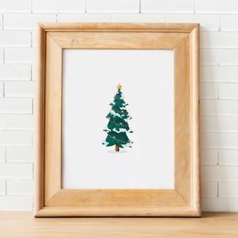 Plantilla de marco de madera festivo maquetas