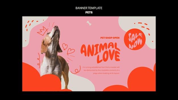 Plantilla de mascotas de diseño de banner