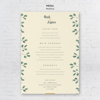 Plantilla de menú de boda decorativa
