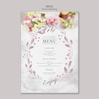 Plantilla de menú de boda minimalista floral