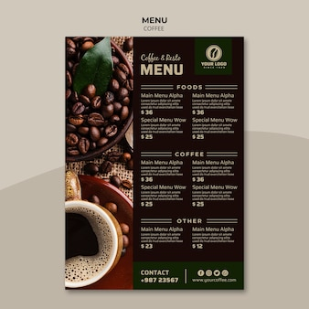 Plantilla de menú de café sabroso