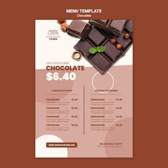 Plantilla de menú de chocolate sabroso