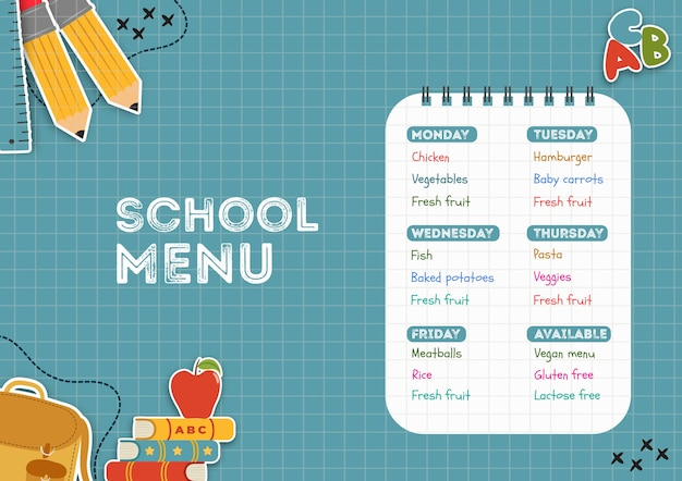 Plantilla de menú de comedor escolar