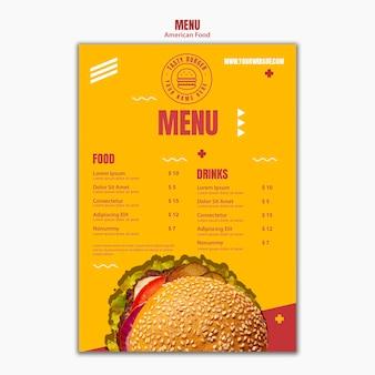 Plantilla de menú de comida americana sabrosa hamburguesa con queso