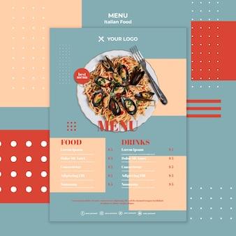 Plantilla de menú de comida italiana