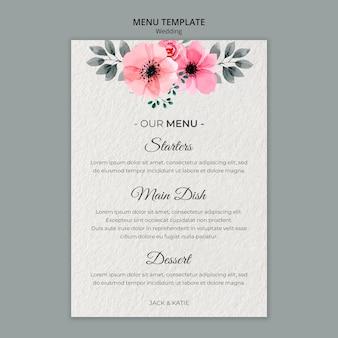 Plantilla de menú de concepto de boda