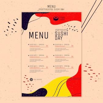Plantilla de menú del día de sushi