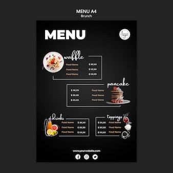 Plantilla de menú de diseño de restaurante de brunch
