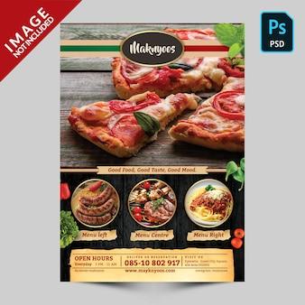 Plantilla de menú frontal de comida de restaurante italiano