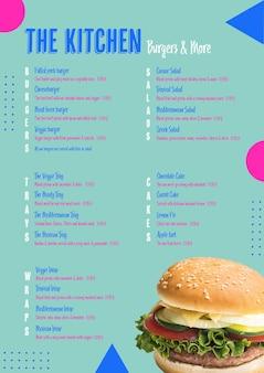 Plantilla de menú de hamburguesas de cocina