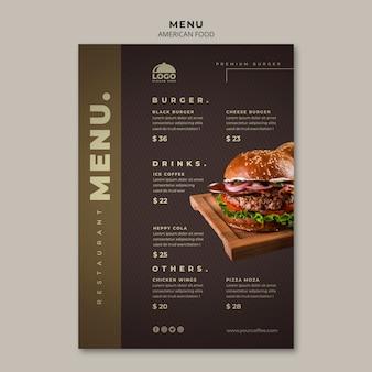 Plantilla de menú de hamburguesas