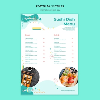 Plantilla de menú internacional de platos de sushi