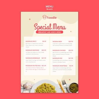 Plantilla de menú con lista para restaurante
