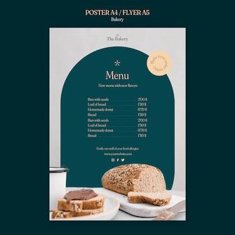 Plantilla de menú de panadería