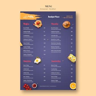 Plantilla de menú para restaurante