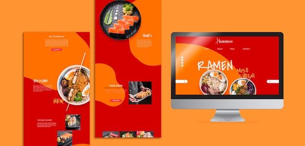 Plantilla de menú y sitio web para restaurante de sushi japonés, comida asiática u oriental