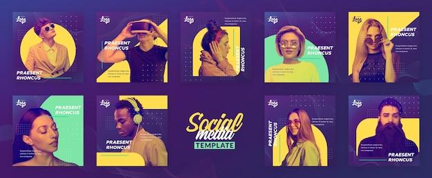 Plantilla de menú social con personas y dispositivos digitales.
