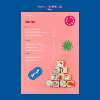 Plantilla de menú de sushi delicioso