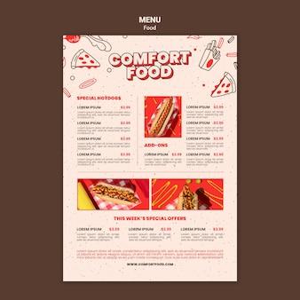 Plantilla de menú vertical para comida reconfortante para perros calientes