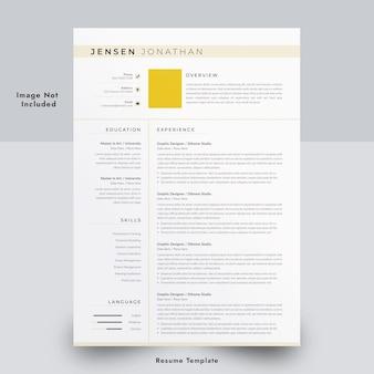 Plantilla mínima de currículum de una página en word