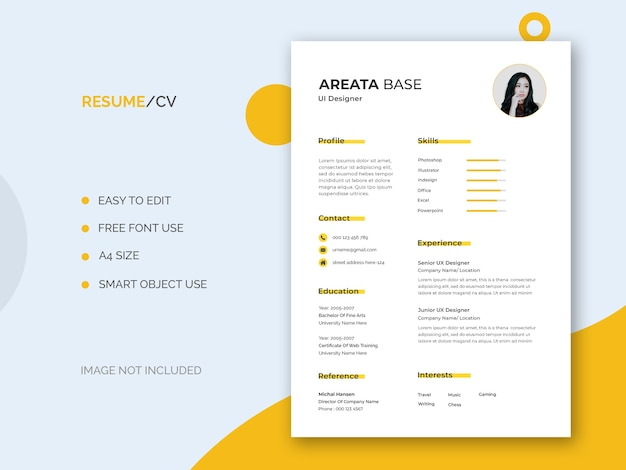 Plantilla mínima de currículum vitae de diseñador de interfaz de usuario