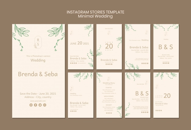Plantilla mínima de historias de instagram de boda