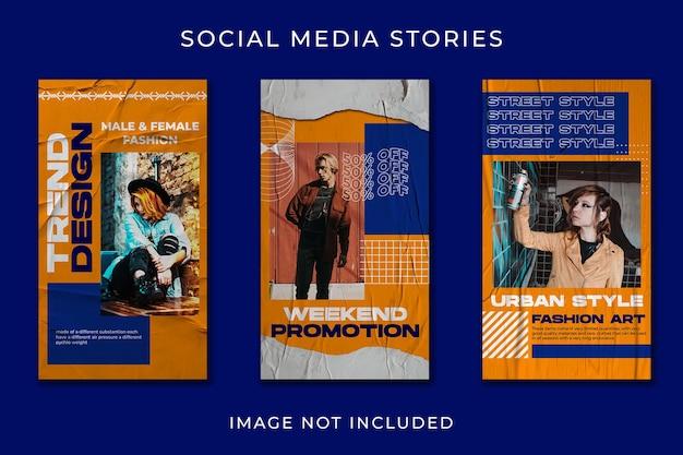Plantilla de moda streetwear de historias de redes sociales