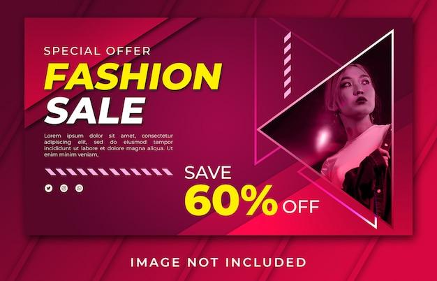 Plantilla moderna de venta de moda de página de inicio de banner