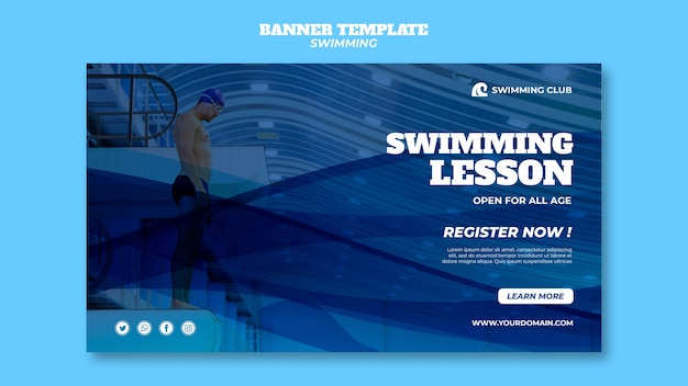 Plantilla de natación para concepto de banner