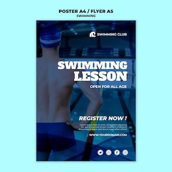Plantilla de natación para el concepto de póster