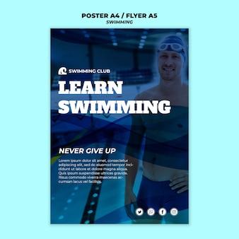 Plantilla de natación para diseño de carteles