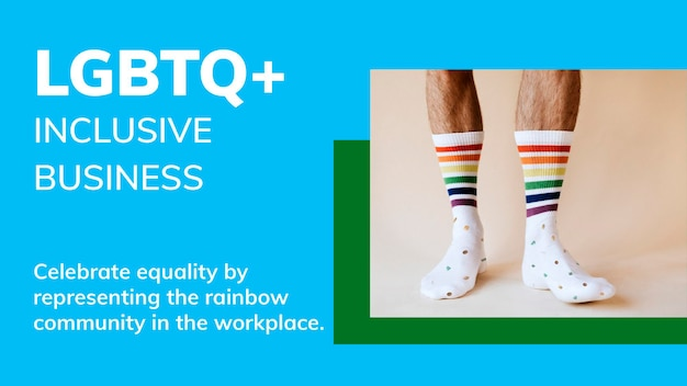 Plantilla de negocio inclusivo lgbtq + psd banner de blog de celebración del mes del orgullo gay