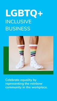 Plantilla de negocio inclusivo lgbtq + psd celebración del mes del orgullo gay historia de redes sociales
