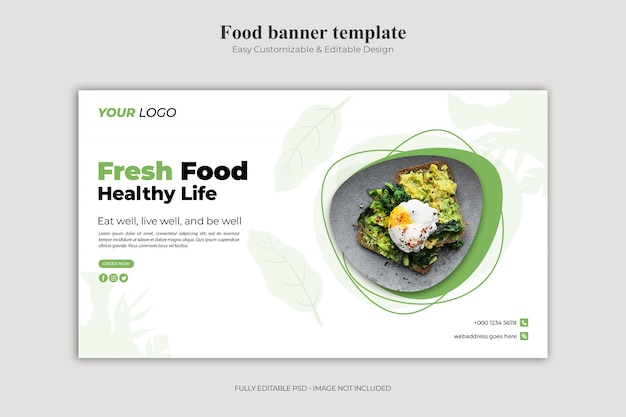 Plantilla de página de aterrizaje de alimentos frescos y vida sana