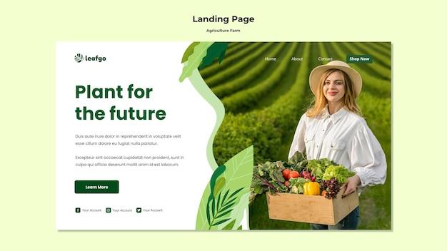Plantilla de página de aterrizaje de concepto de granja agrícola