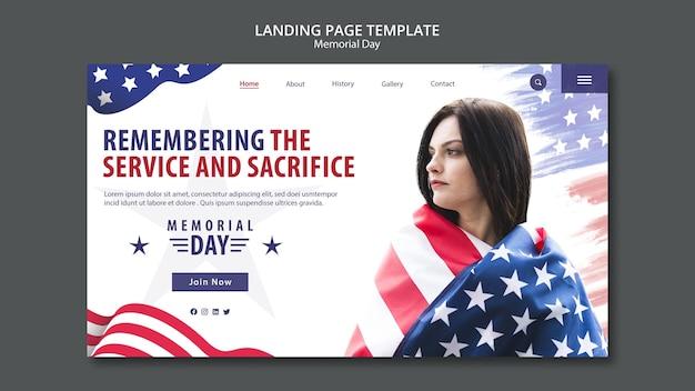 Plantilla de página de aterrizaje del concepto de memorial day