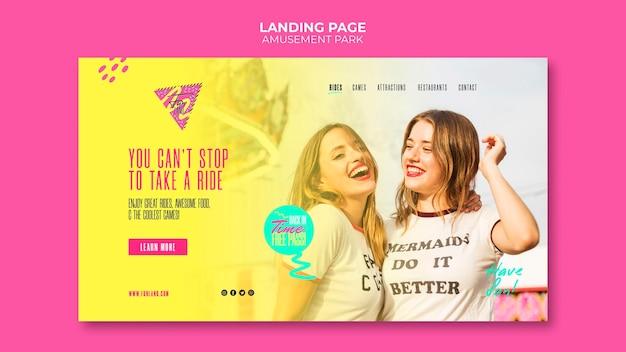 Plantilla de página de aterrizaje del concepto de parque de atracciones