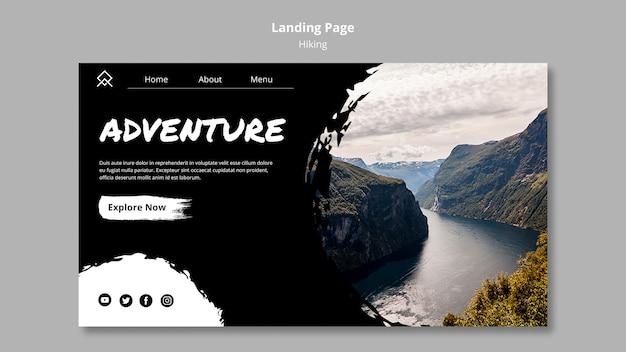 Plantilla de página de aterrizaje con concepto de senderismo