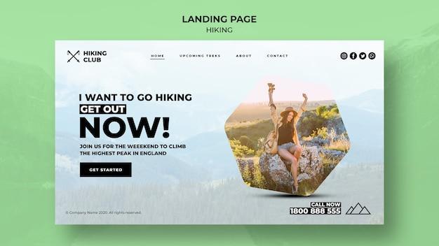Plantilla de página de aterrizaje de concepto de senderismo