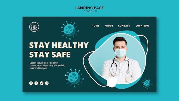 Plantilla de página de aterrizaje de coronavirus con foto