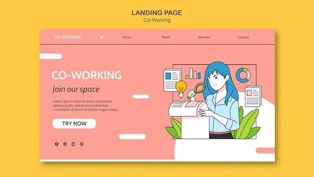 Plantilla de página de aterrizaje de coworking