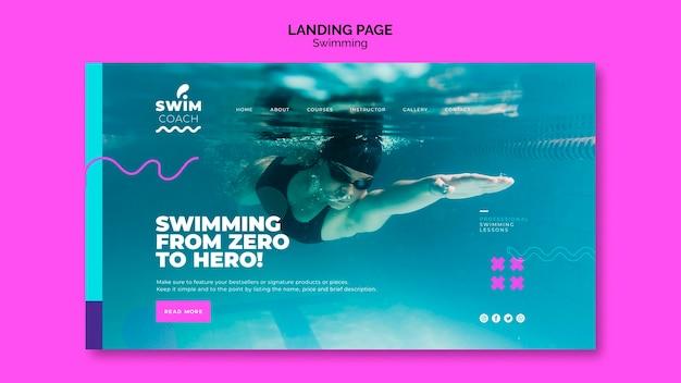 Plantilla de página de aterrizaje de natación